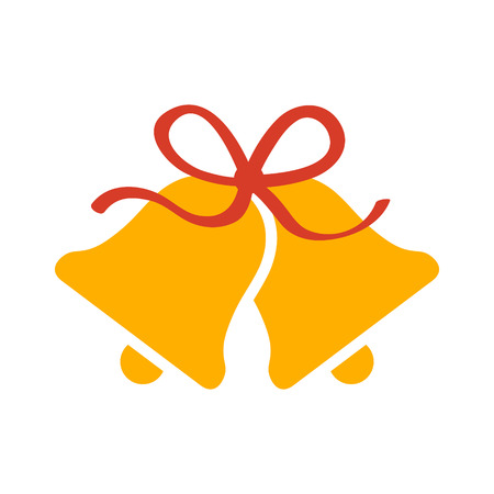 Christmas jingle bells with red ribbon bow flat icon for apps and websites 일러스트