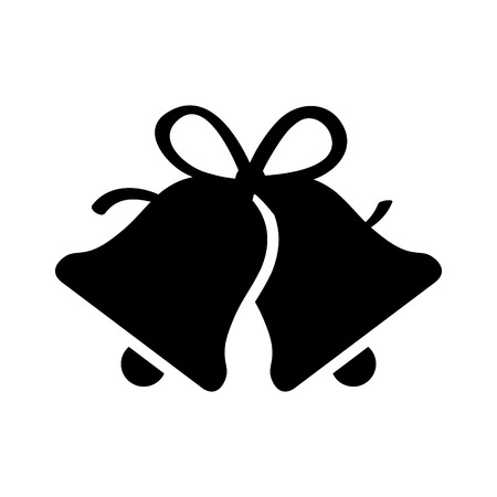 Christmas jingle bells with ribbon bow flat icon for apps and websites