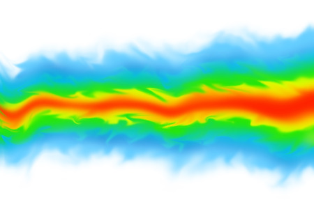 Fluid dynamics  mechanics simulation CGI imagery on white background