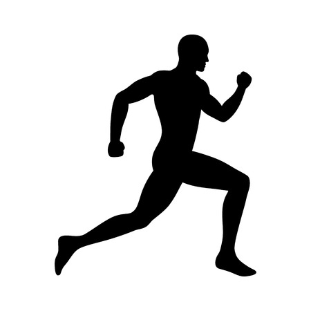naked man: Man sprint running flat icon for exercise apps and websites Illustration
