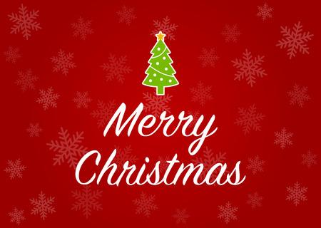 Frohe Weihnachten Grußkarte mit Weihnachtsbaum in Rot Schneeflocke