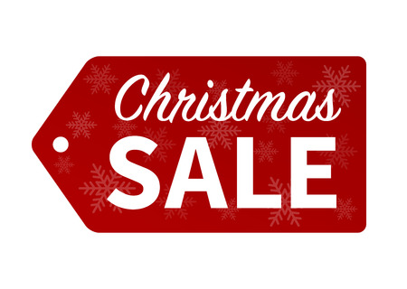 Christmas sale red hang tag promotion vector