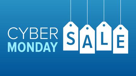Cyber Monday verkoop website display met hang-tags vector promotie