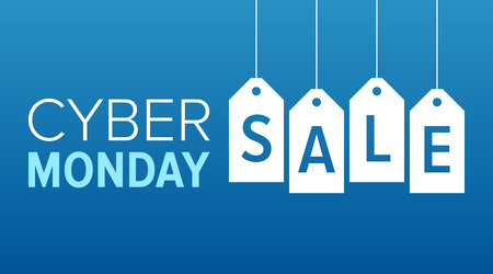 sales: Cyber Monday sale website display with hang tags vector promotion