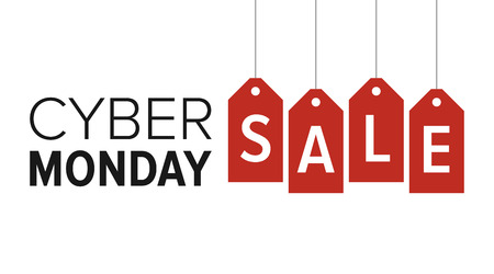 Cyber Monday sale website display with red hang tags vector promotion 일러스트