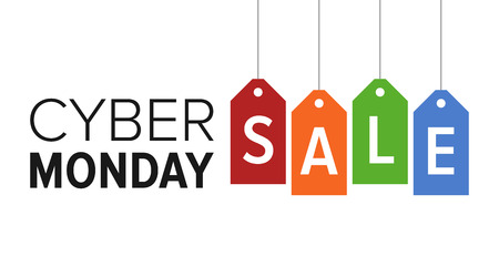 display: Cyber Monday sale website display with colorful hang tags vector promotion Illustration