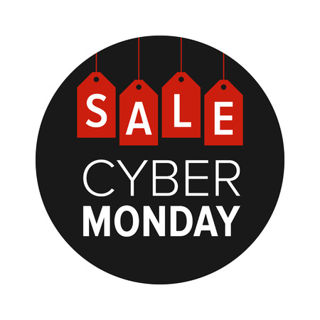 label sticker: Cyber Monday sale website display with red hang tags vector promotion Illustration