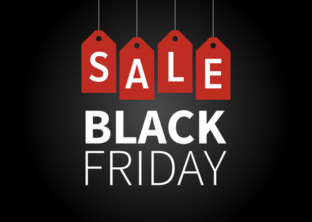 red black: Black Friday sale promotion display poster  postcard Illustration