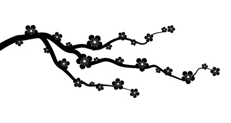 branch silhouette: Peach or cherry blossom tree branch with flowers flat vector graphic
