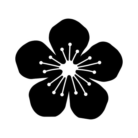 peach blossom: Peach or cherry blossom flower flat icon for apps and websites
