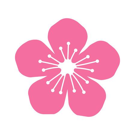 Peach oder Kirschblüten-Blumenflach Symbol für Apps und Websites Standard-Bild - 44204527