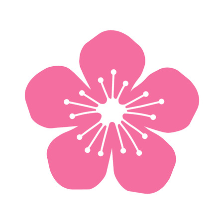 Peach or cherry blossom flower flat icon for apps and websites