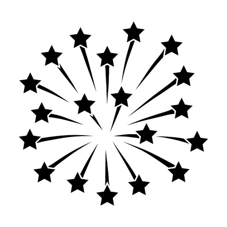 New Years or Independence Day fireworks with stars flat icon