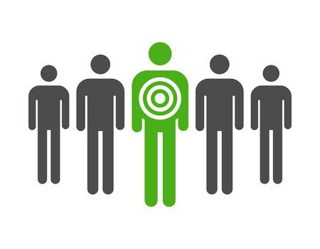 generace: Osobní cílený spotřebitelského marketingu byt ikona pro aplikace a webové stránky Ilustrace