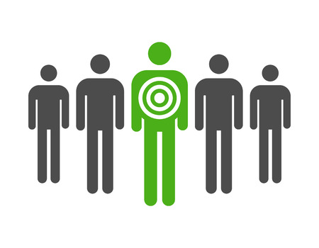 Personal targeted consumer marketing flat icon for apps and websites