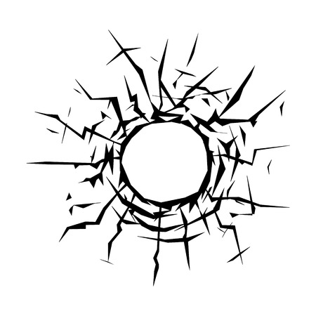 bullet hole: Bullet hole on a window flat icon for apps and websites