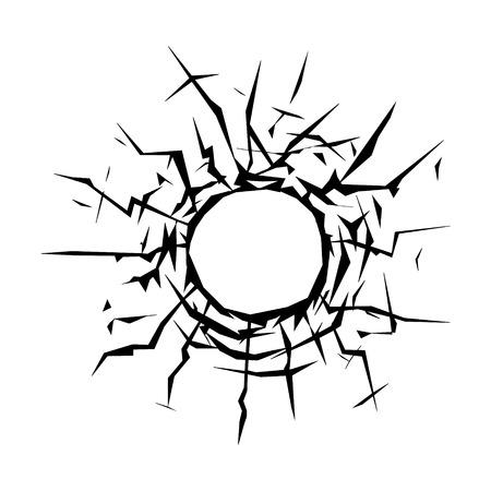 fissure: Trou de balle sur une icône plat de la fenêtre pour les applications et sites Web Illustration
