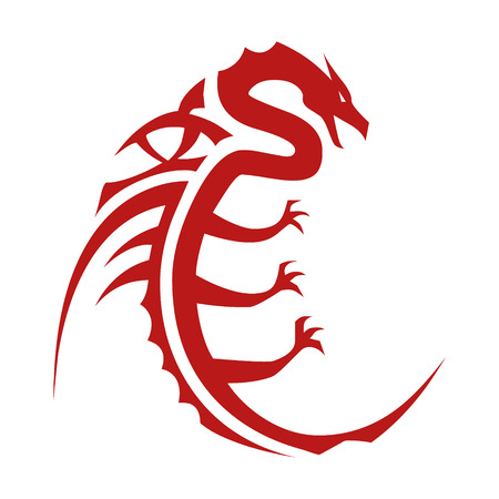 chinese astrology: Chinese Dragon character symbol flat icon for apps and websites Illustration