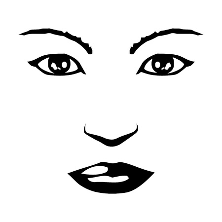 Female  Womans perfect symmetrical face flat vector icon for apps and websites
