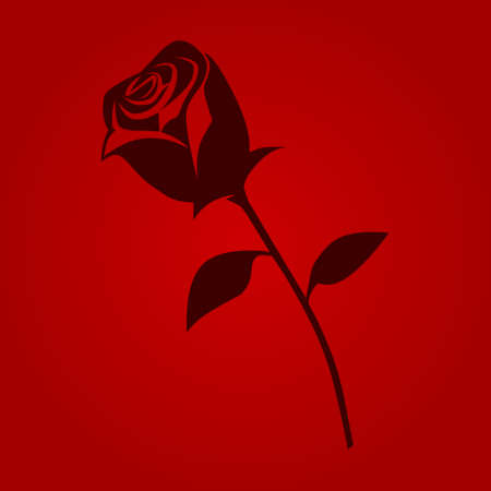 rosaceae: Red romantic rose flower flat icon for apps and websites Illustration