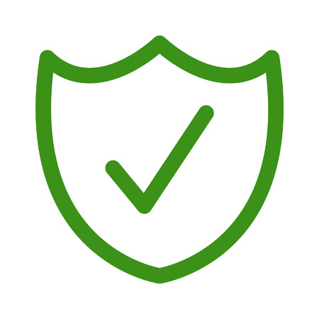 Security shield confirmation check line icon for apps and websites