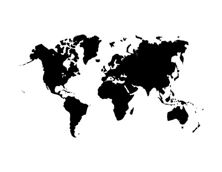 International world map flat vector icon for apps and websites