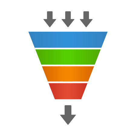 funnel: Sales lead funnel flat icon with arrows for presentation apps and websites
