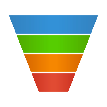 funnel: Sales lead funnel flat icon for presentation apps and websites Illustration