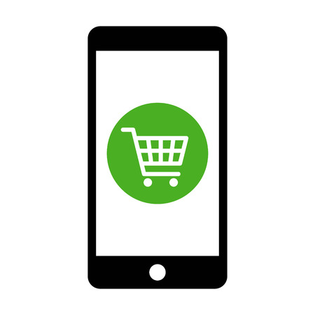 compras compulsivas: Mobile phone online shopping with cart flat icon for apps and websites Vectores