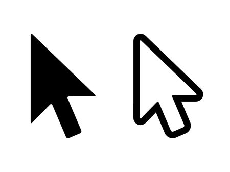 computer mouse: Computer mouse click pointer cursor arrow flat icon for apps and websites Illustration