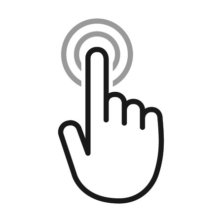 touch screen phone: Hand touch  tap gesture line art icon for apps and websites