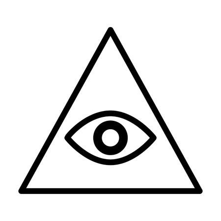 Eye of providence or all-seeing eye of God line art icon for apps and websites