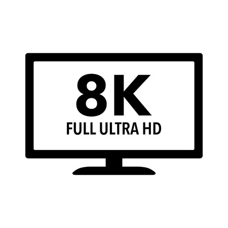 high definition: 8K Full Ultra HD  UHD HDTV flat icon for apps and websites