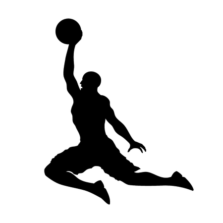 scoring: Basketball playing dunking and scoring flat icon for apps and websites Illustration