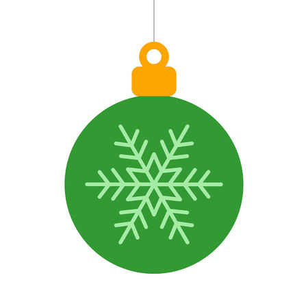 Green Christmas tree ornament with snowflake flat icon for apps and websites Ilustração