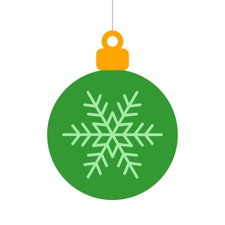 Groen kerstboom ornament met sneeuwvlok plat pictogram voor apps en websites