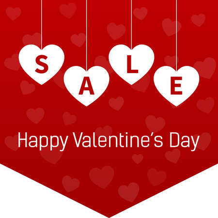 hanging banner: Happy Valentines Day sale promotion website hanging banner flag