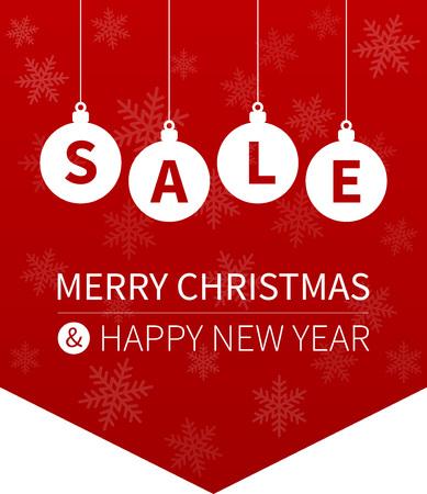 hangings: Merry Christmas sale promotion website hanging banner flag Illustration
