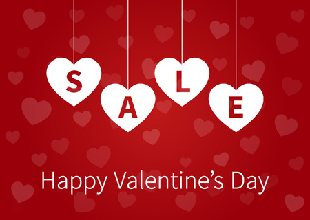 Happy Valentines Day sale display poster  postcard with hanging hearts vector Illustration