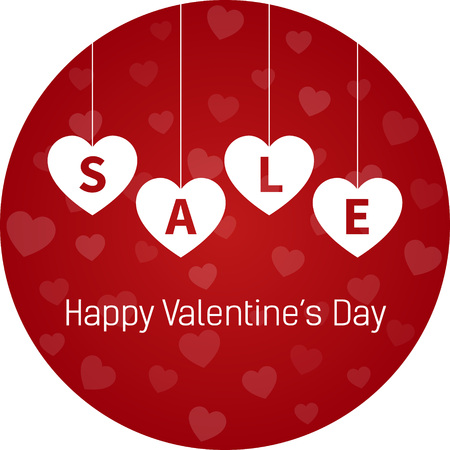 Happy Valentines Day round sale display  sticker with hanging hearts vector