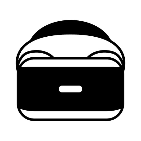 Virtual reality gaming headset flat icon for apps and websites