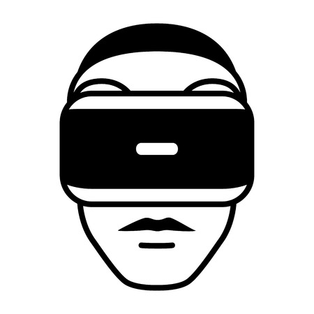 face with headset: Virtual reality gaming headset goggle on face flat icon for apps and websites