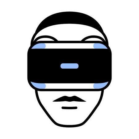 ps: Virtual reality gaming headset goggle on face flat icon for apps and websites