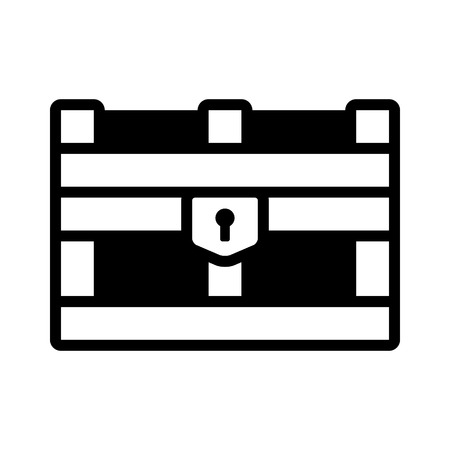 Treasure chest storage box flat icon for apps and websites Illustration