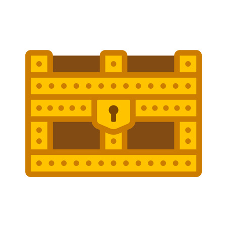storage box: Gold treasure chest storage box flat icon for apps and websites Illustration