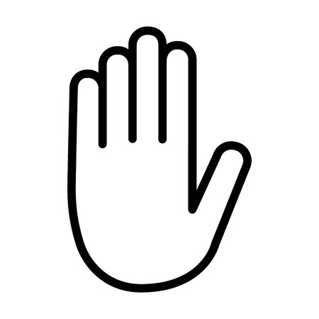 Stop sign hand  palm line art icon for apps and websites 일러스트