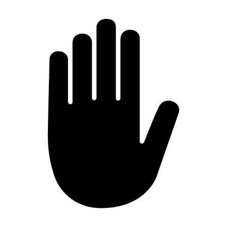 hazard sign: Stop sign hand  palm flat icon for apps and websites