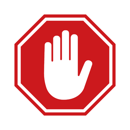 Red stop sign icon with hand  palm flat icon for apps and websites Illustration