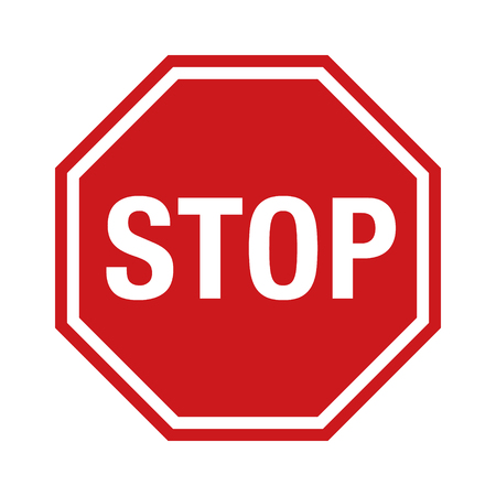 Red stop sign icon with text flat icon for apps and websites Imagens - 49796743
