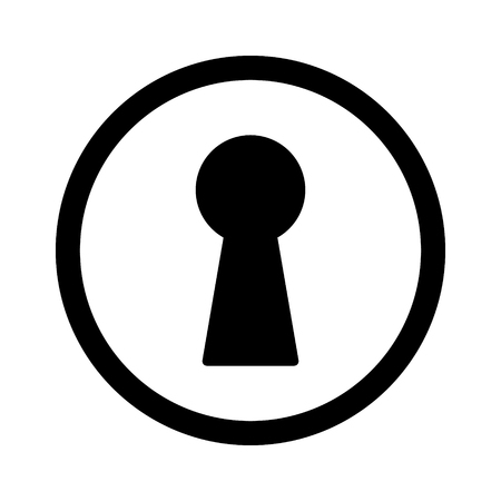 locked the door: Vintage door keyhole access line art icon for apps and websites